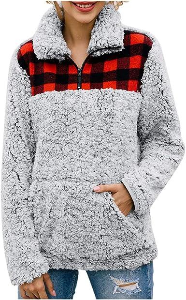 Women Plaid Flannel Patchwork Long Sleeve Sweatshirt Pullover Shirt Tops Blouse