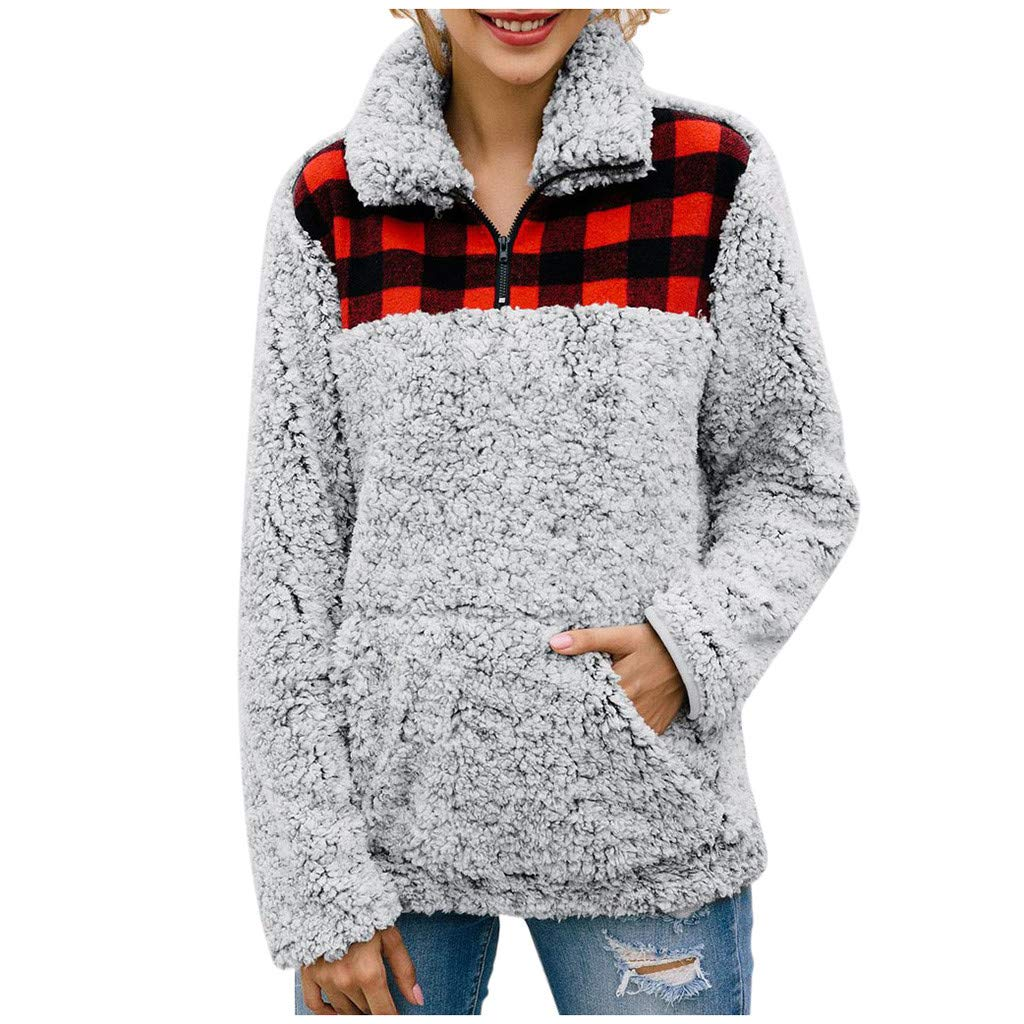 Plaid Patchwork Sweatshirt for Women 1/4 Zipper High Collar Fuzzy Jacket Coats with Pocket (Gray,M) by BNisBM