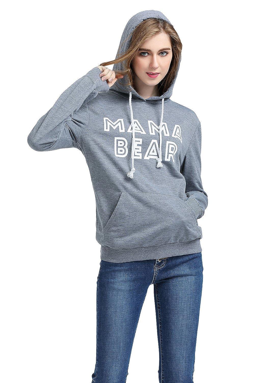 WLLW Women Long Sleeve Mama Bear Letter Print Hoodie Sweatshirt Pockets
