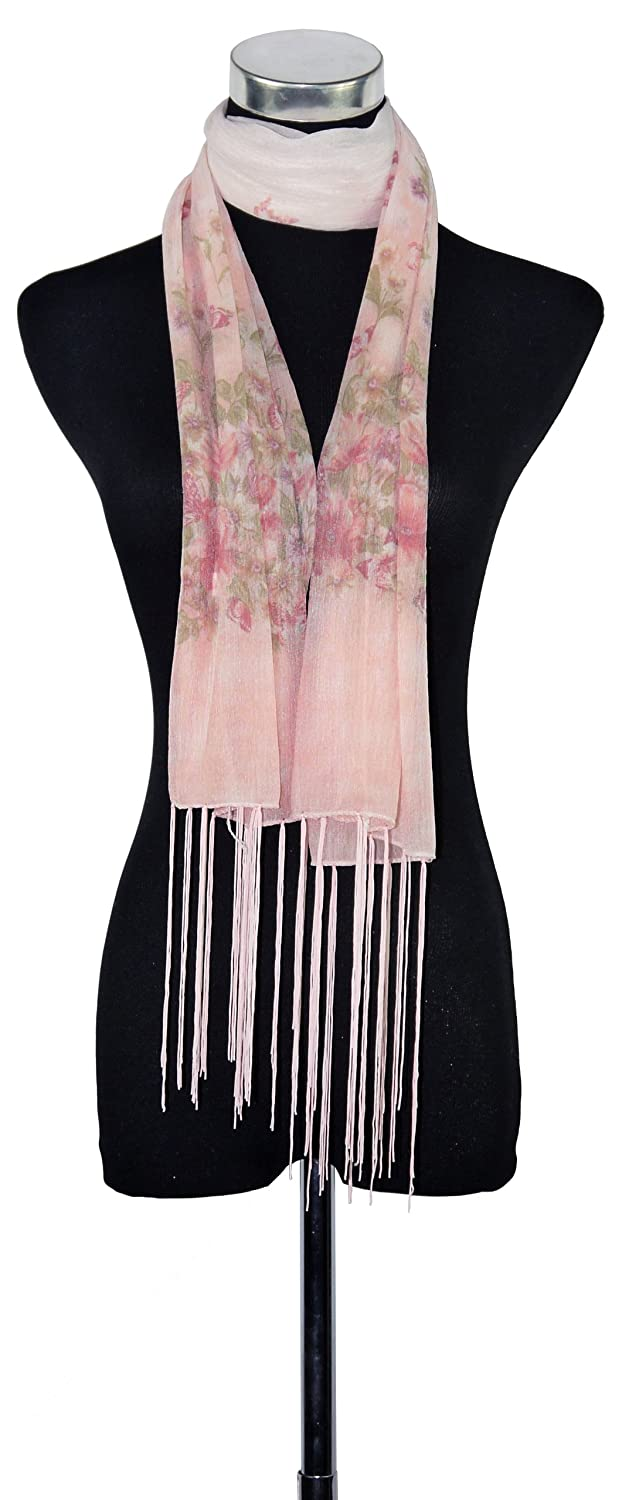 Primo Sacchi Women's Butterfly And Flower Scarf With Tassels