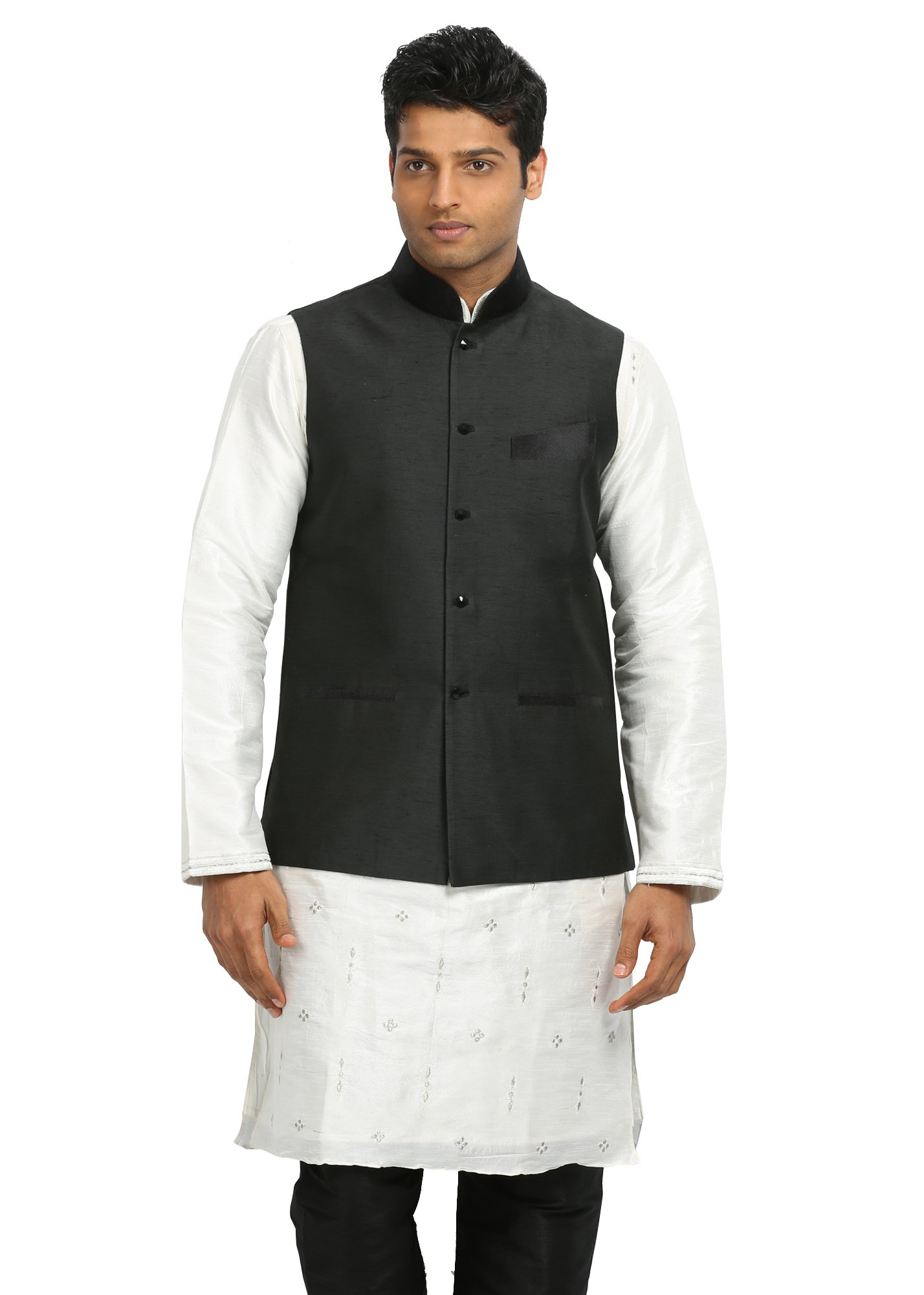 Saris and Things Black Nehru Jacket for Men by Saris and Things
