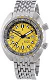 Doxa Sub 750T GMT Divingstar Men's Automatic Watch with Yellow Dial Analogue Display and Silver Stainless Steel Bracelet 850.10Y.361N.10