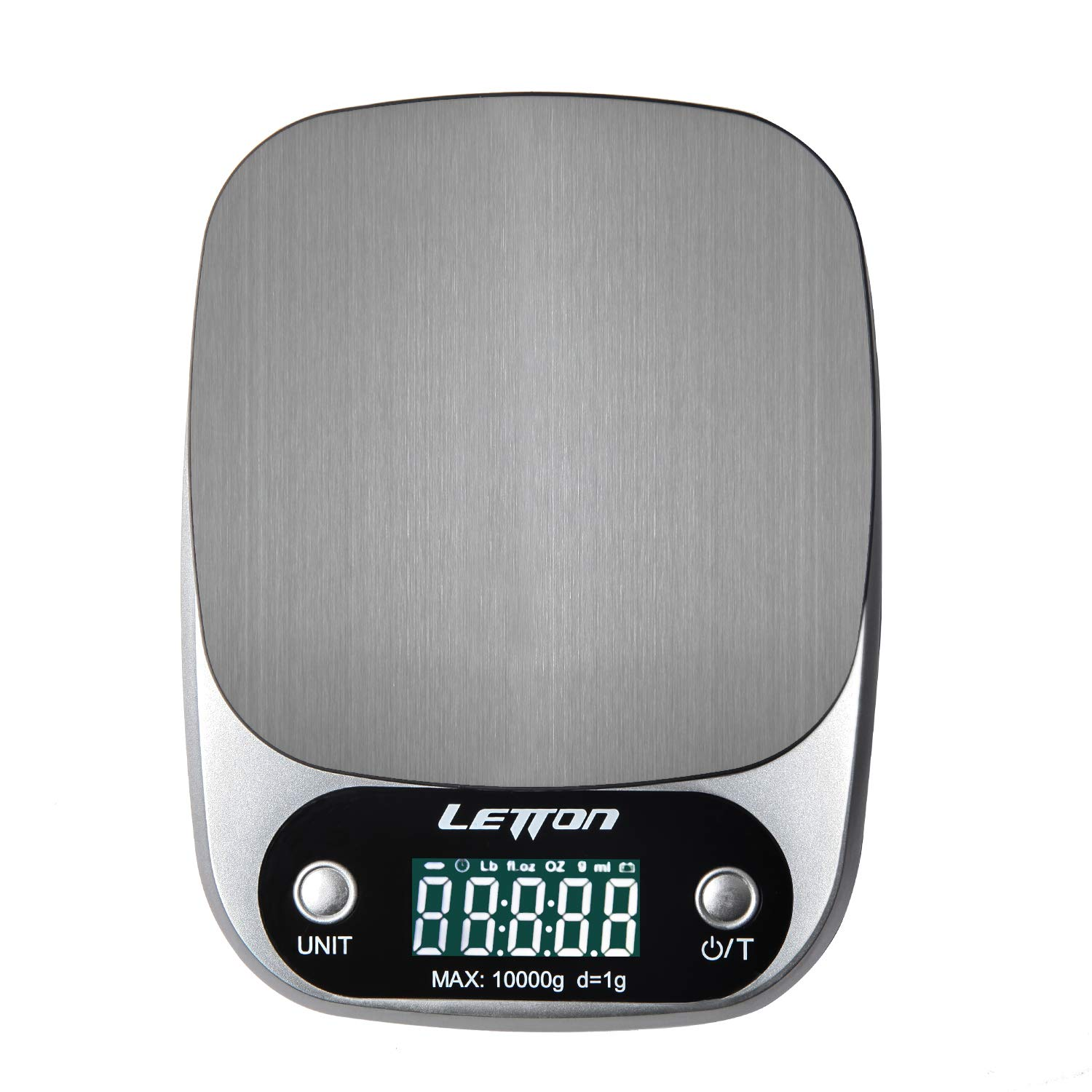 LETTON Digital Kitchen Scale Multifunction Food Scale, 22 lb 10 kg Stainless Steel (Batteries Included Silver)