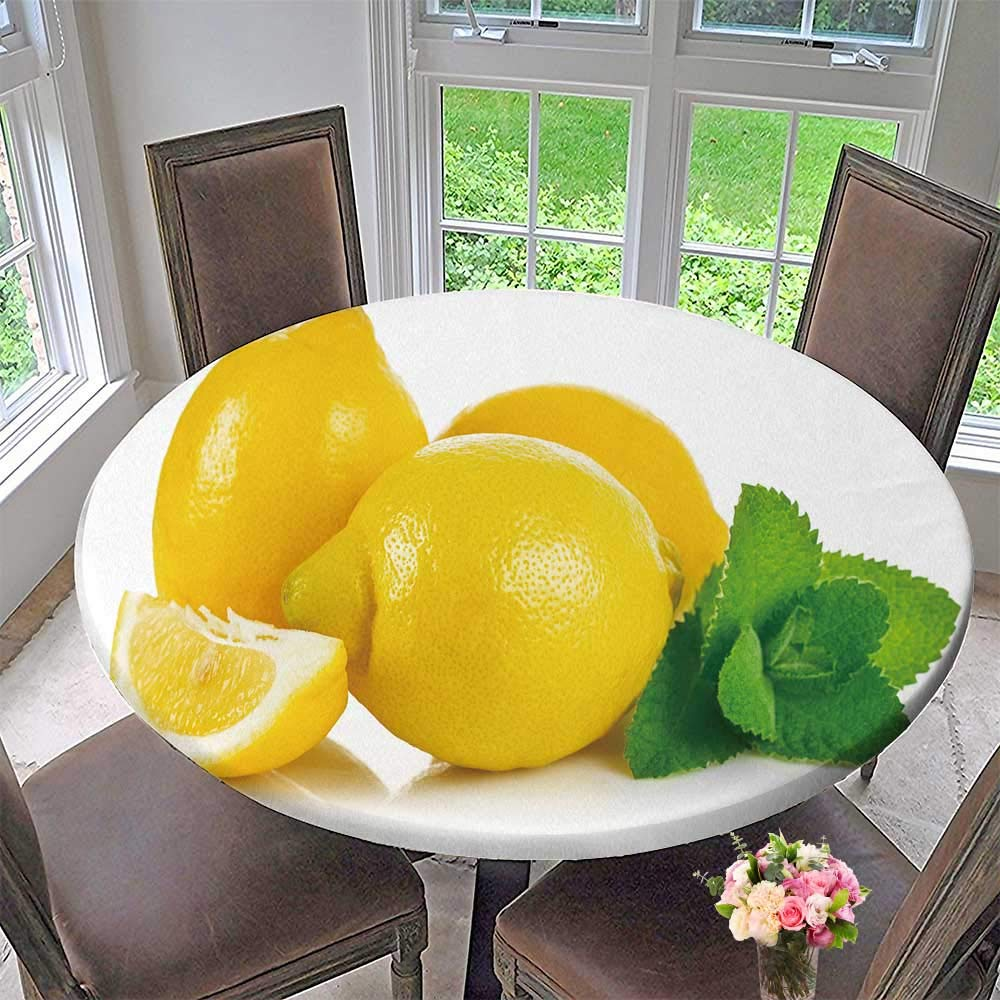 """PINAFORE HOME Modern Simple Round Tablecloth Fruit Lemons in Section with Leaf Green Mint Isolated White Background Decoration Washable 50""""-55"""" Round (Elastic Edge)"""