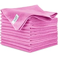 "Buff Microfiber Cleaning Cloth | Pink (12 Pack) | Size 16"" x 16"" 