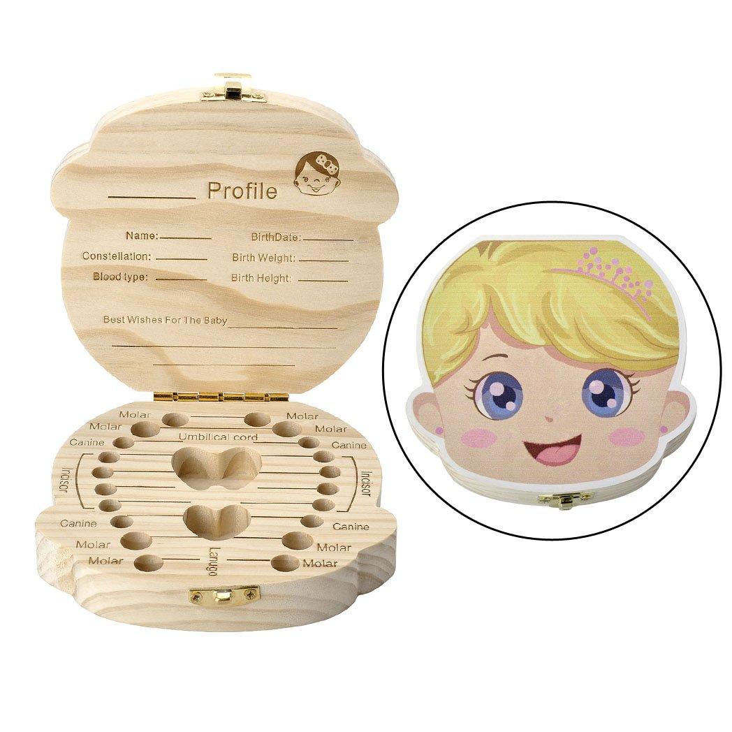 Mangostyle - Caja de madera para guardar los dientes de leche de recuerdo, regalo para bebé s y niñ os Dente regalo para bebés y niños Dente