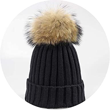 70915492b59 Real Raccoon Fur Pompom Thick Warm Winter Women red hat Knit Female Cap  with Fur Lady
