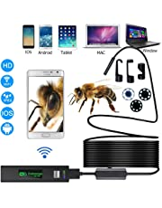 Wireless Endoscope,Updated 720P HD Wireless Borescope WiFi Inspection Camera with 2.0 Megapixels for iPhone and Android Smartphone, Table, Ipad, PC - Black (11.5FT)