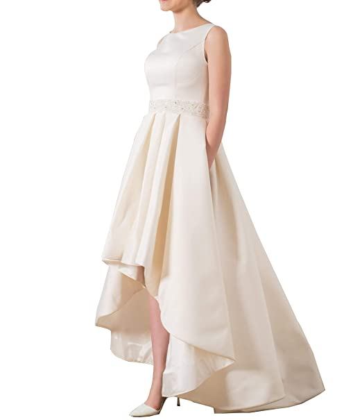 PearlBridal Women's Simple Satin High Low Wedding Dresses