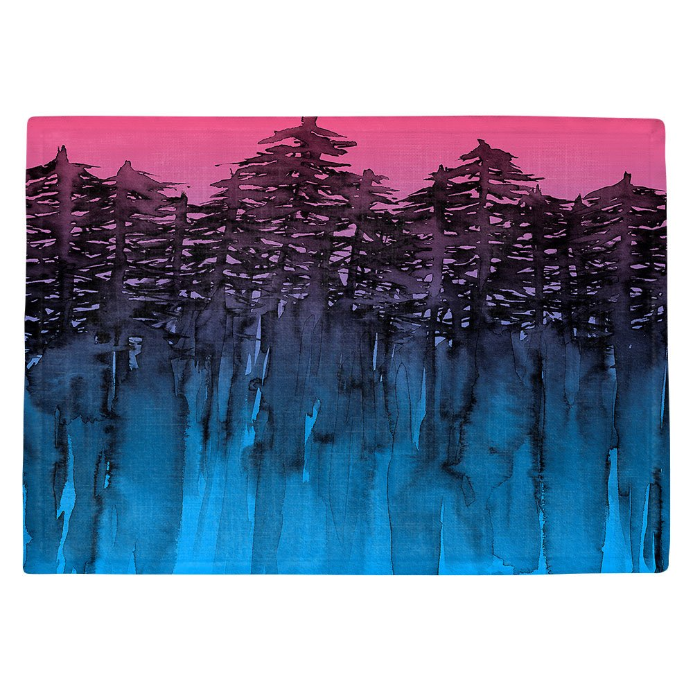 DIANOCHEキッチンPlaceマットby Julia Di Sano – Forest Treesピンクブルー Set of 4 Placemats PM-JuliaDiSanoForestTreesPinkBlue2 Set of 4 Placemats  B01EXSKPDG