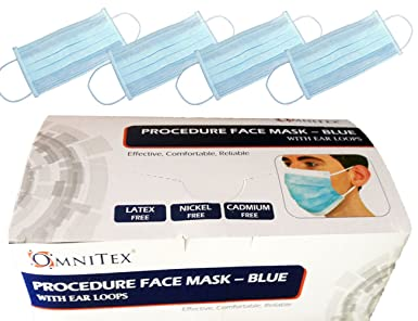 ce Masks Earloop 100 Face With Ply Omnitex Marked Of Surgical 3 Pack