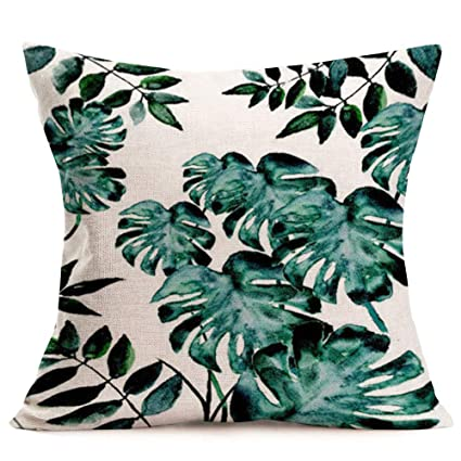 Magnificent Royalours Green Leaves Pillow Covers Cotton Linen Tropical Palm Leaf Decorative Throw Pillow Case Summer Cushion Cover For Home Bench Couch Sofa 18 X Ocoug Best Dining Table And Chair Ideas Images Ocougorg