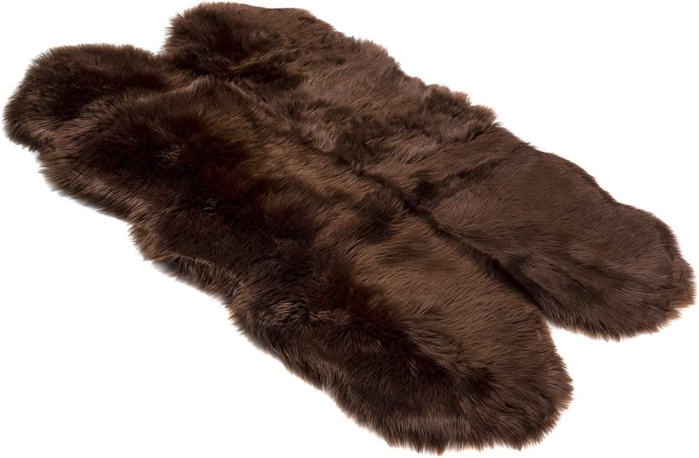 Silky Super Soft Brown Faux Sheepskin Shag Rug Faux Fur - Machine Washable Great for Photography or Decor Get The Real Look Without Harming Animals (Quad Pelt (3 feet x 5 feet)