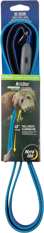 Nite Ize NiteDog Rechargeable LED Leash, USB Rechargeable 5 Foot Light Up Dog Leash w/Padded Handle