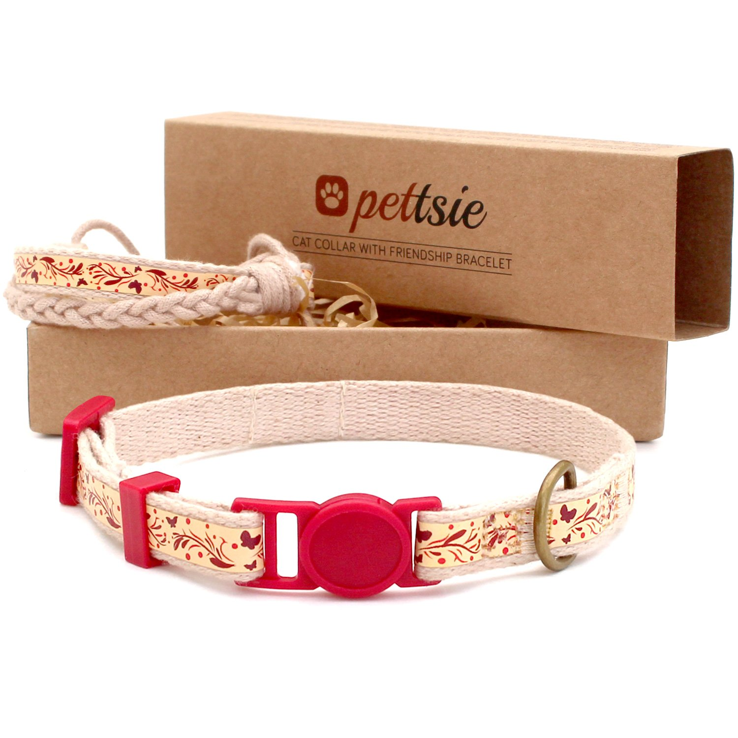 Pettsie Cat Collar Breakaway Safety and Friendship Bracelet for You, Durable 100% Cotton for Extra Safety, D-Ring for Accessories, Comfortable and Soft Cotton, Easy Adjustable 7.5-11.5 Inch