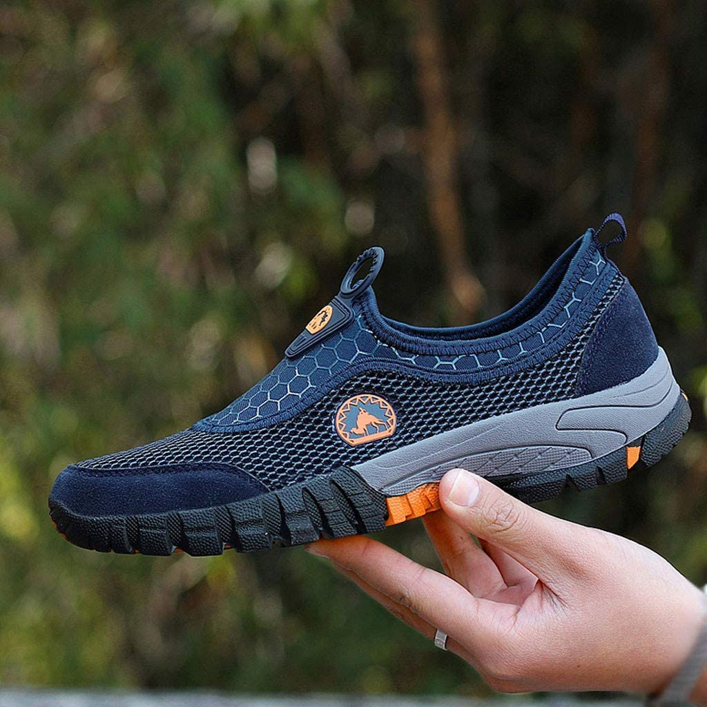 Mens Mountaineering Sport Shoes,Males Outdoor Mesh Solid Non-Slip Walking Sneakers Hiking Shoes {Soft Bottom }