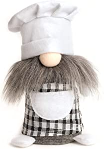 ITOMTE Handmade Swedish Chef Gnome, Scandinavian Cooking Tomte, Yule Santa Nisse, Nordic Chef Figurine, Plush Elf Toy, Home Table Ornament, Kitchen Decor, Collectible Housewarming Gifts - 8 Inches
