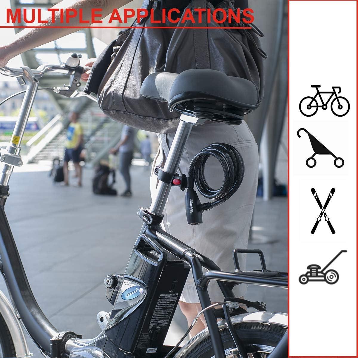 Llave 1,8 m Cable Cortac/ésped y Otro Equipo Monopat/ín Paseante Flexible Montaje Exterior 8232EURDPRO Ideal para Bicicleta MASTER LOCK Candado Bicicleta