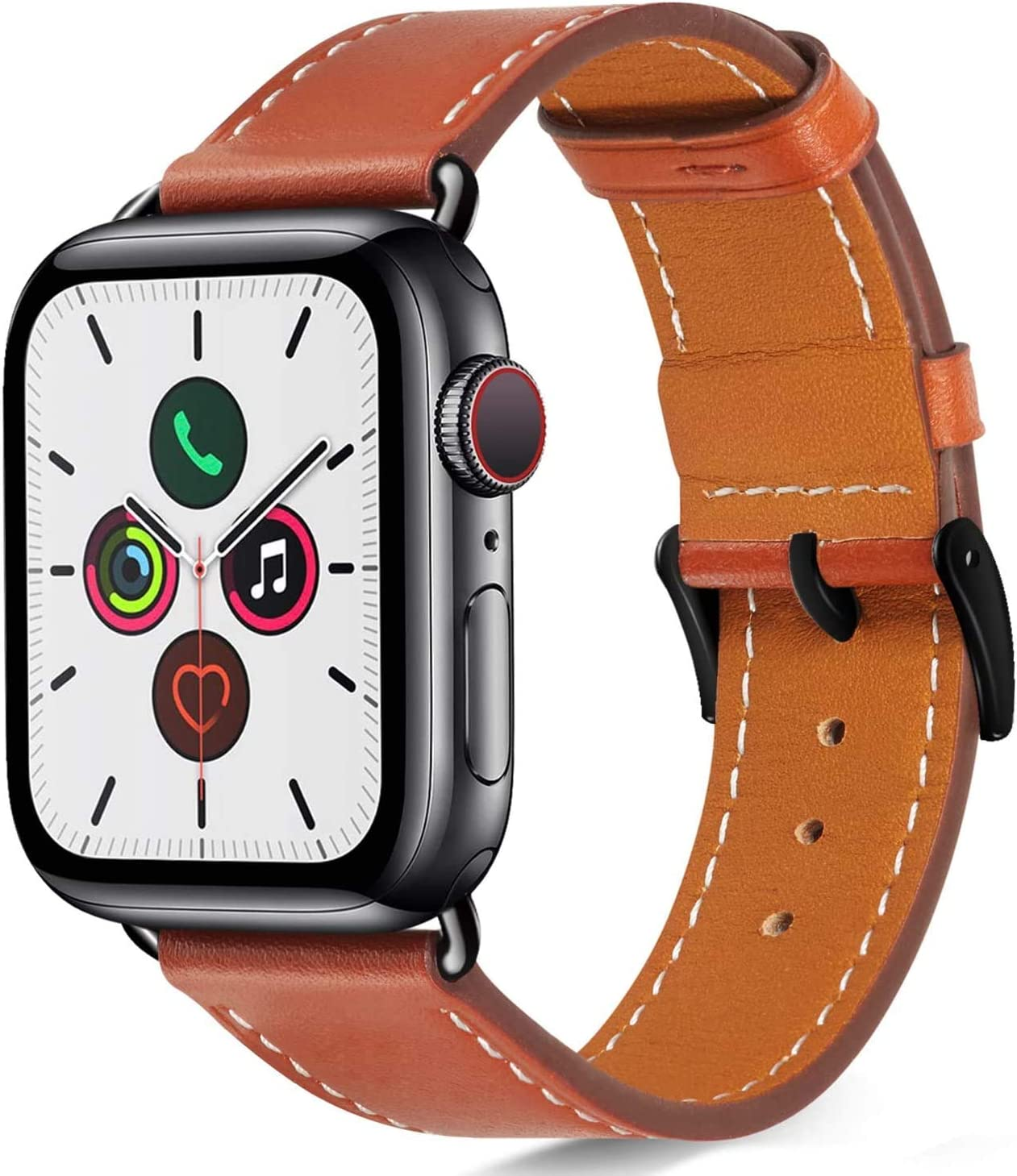 Compatible with Apple Watch Band 44mm 42mm for iWatch Bands Series 6 SE 5 4 3 2 1 Women Men, Pierre Case Durable Genuine Leather Replacement Strap, Adjustable Stainless Metal Clasp,Brown