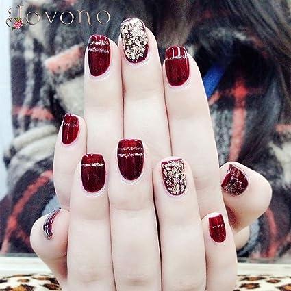 jovono Retro Full False Nail Tips Vintage corto falso uñas para las mujeres y las niñas
