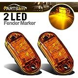 "Partsam 2x Trailer Truck Surface Mount LED Oval 2.5"" Amber Side Marker Lamp Bulb 2 Diodes, Boat Marine LED Courtesy Lights, 2.5 Inch Trailer led clearance and side marker lights"