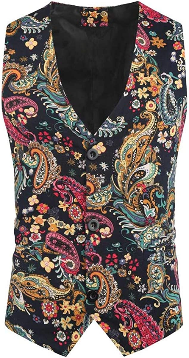 Mens Suit Vest Slim Fit Waistcoat Ethnic Vintage Paisley Floral Single Breasted Casual V Neck Waistcoats