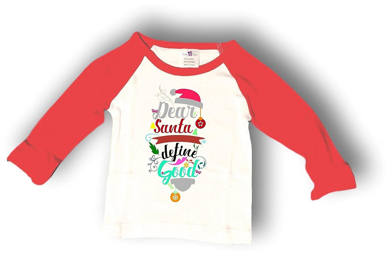 82ed07056 Amazon.com  Baby Tee Time Red Long Sleeve Dear Santa Define Good ...