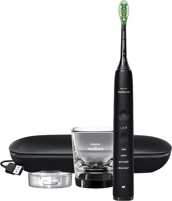 Philips Sonicare Diamond Clean S9000 HX9911/13 - Cepillo de dientes eléctrico con cabezal inteligente, sensor de presión, 4 modos, 3 intensidades, vaso cargador, y estuche de viaje, color negro: Amazon.es: Salud y