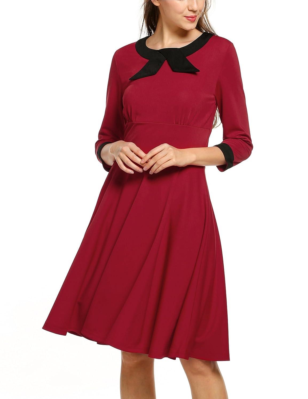 ACEVOG Women's 1950'S Vintage Rockabilly Elegant 3/4 Sleeve Evening Dress for Party Wedding