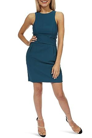 e18d6a1ce84 Amazon.com  Teeze Me Juniors Sleeveless Halter Cross Waist Sheath Dress  with Pockets  Clothing