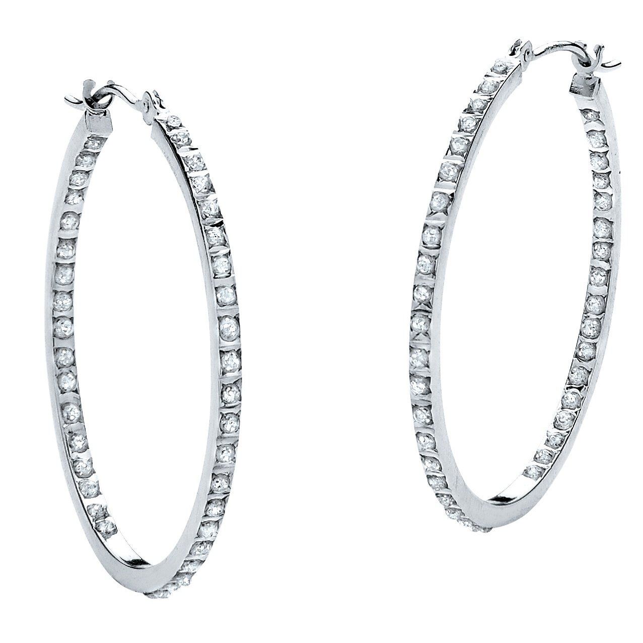 Platinum over Sterling Silver Genuine Diamond Accent Inside Out Hoop Earrings (31mm) by Palm Beach Jewelry