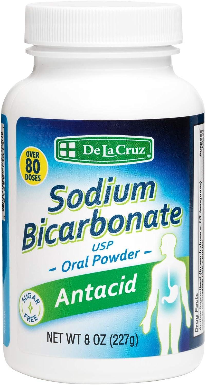 De La Cruz Pure Sodium Bicarbonate - USP Grade Bicarbonate of Soda – 100% Pure Baking Soda – Aluminum Free Antacid Powder for Heartburn & Indigestion - Packed in USA, 8 OZ.