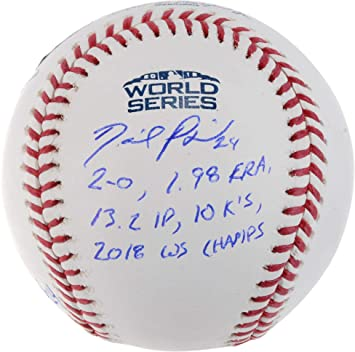 77a84424752 David Price Boston Red Sox 2018 World Series Champions Autographed Logo  Baseball with World Series Stats
