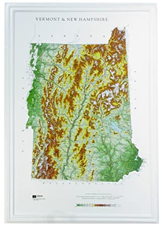 Amazoncom Hubbard Scientific Raised Relief Map Vermont New - Map of vermont and new hampshire