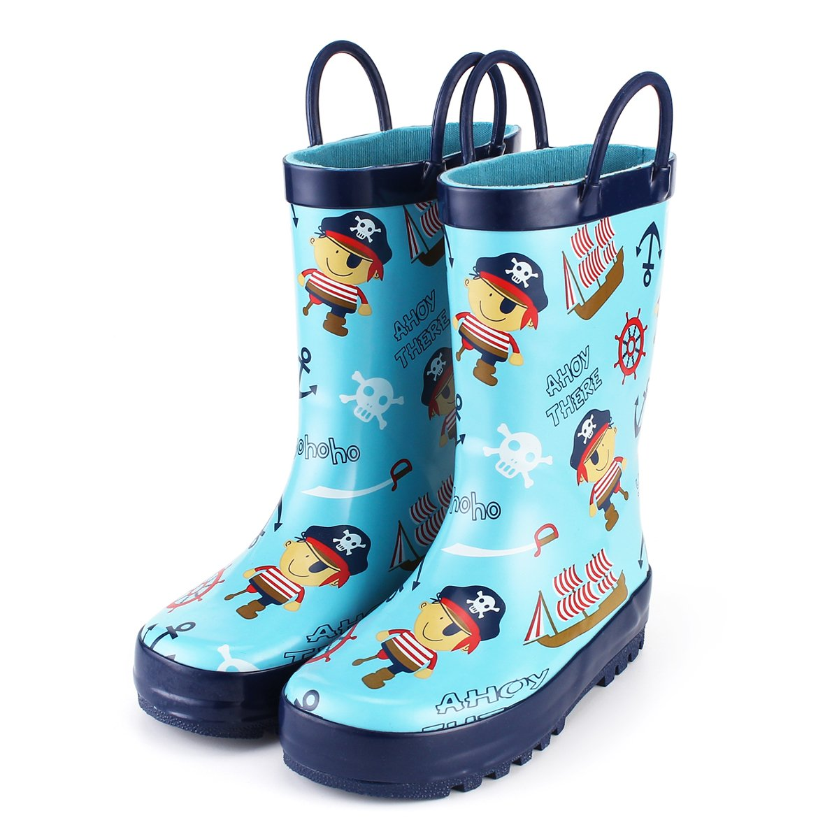 KomForme Kids Boy Rain Boots, Waterproof Rubber Printed with Handles in Various Prints and Different Sizes