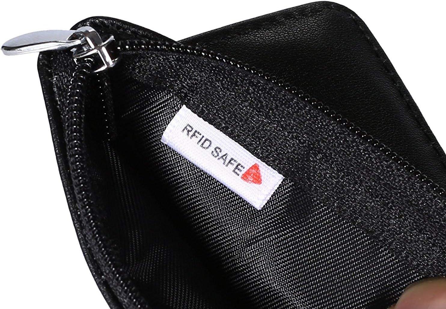Mini portefeuille en cuir avec /étui pour prot/éger contre les ondes RFID protection id/éale pour vos cartes de cr/édit marron