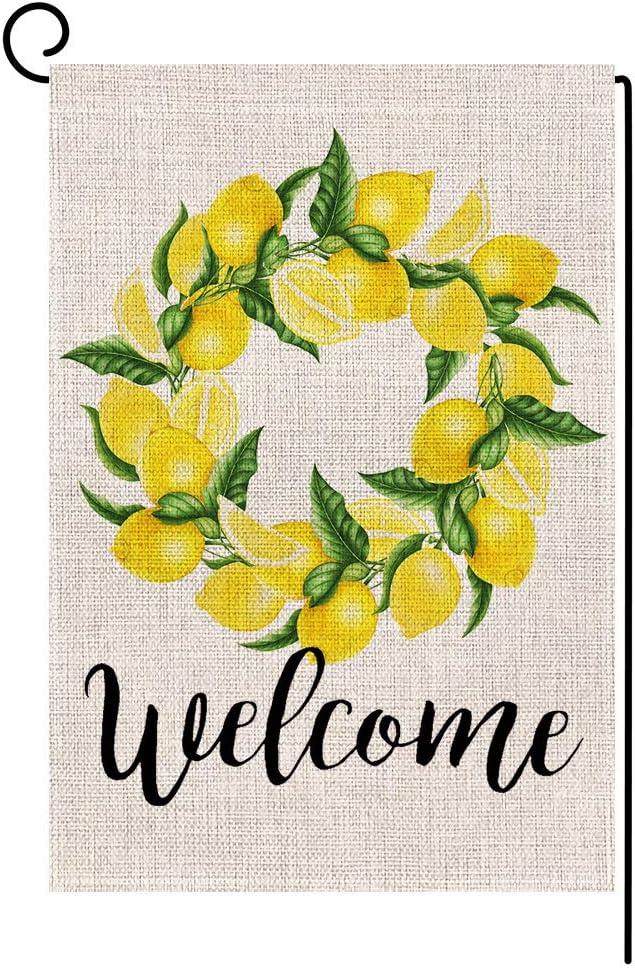 Welcome Lemon Wreath Small Garden Flag Vertical Double Sided 12.5 x 18 Inch Summer Burlap Yard Decor