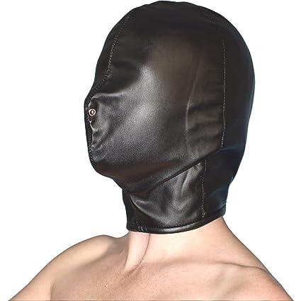 MÁSCARA DE CUERO ARTIFICIAL suave cerrada & opaca* orificios nasales capucha* hood
