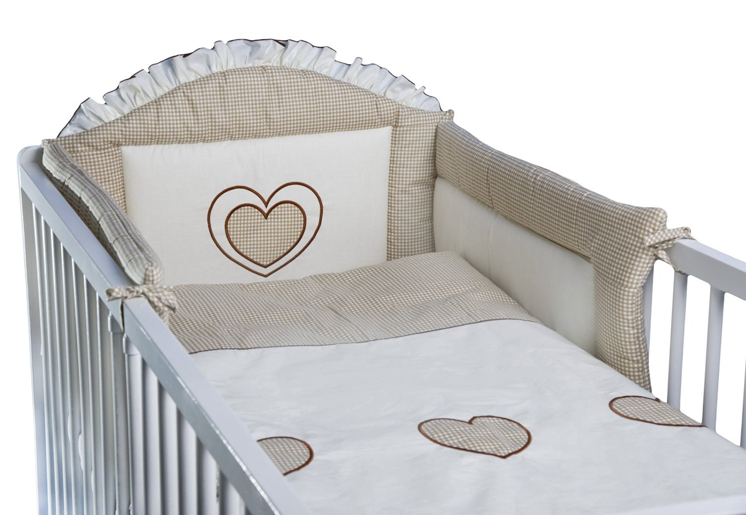 3 Piece Baby Bedding Set (To Fit Cot or Cot Bed) Embroidered - Hearts (COT BED 140 x 70cm, White) Babycomfort