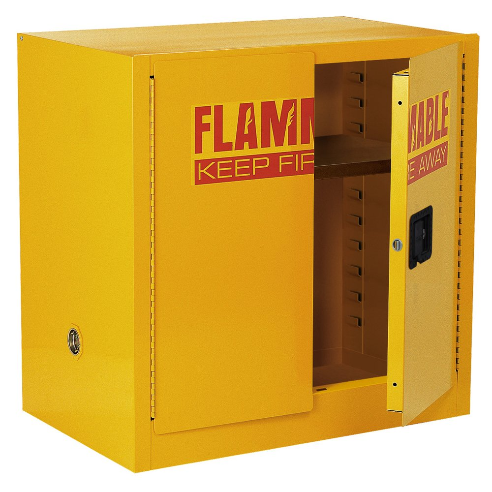 Sandusky Lee SC22F Yellow Steel Safety Cabinet for Flammable Liquids, 1 Shelf, 2 Door Manual Close, 22 Gallon Capacity, 35'' Height x 35'' Width x 22'' Depth