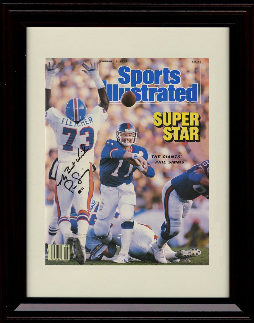 Framed Phil Simms Sports Illustrated Autographレプリカ印刷   B01N2IQ4TL