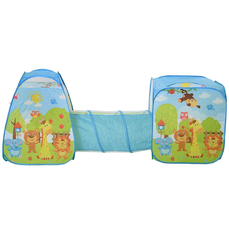 Sistema Pop-up per Indoor e Outdoor 230x70x89cm homcom Tenda Gioco per Bambini 3+ con Tunnel e Casetta