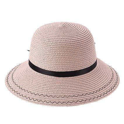 72b3b8d2668 Diamondo Women Wide Brim Summer Beach Sun Hat Straw Bowknot Elegant Bohemia  Cap (Pink)