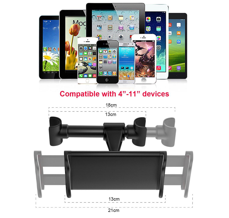 noir Spessn Universel Support Telephone Entre Si/ège de Voiture avec Rotation de 360 degr/és pour iPad mini//iPad Air//Samsung Galaxy Tabs Support Tablette Voiture Appuie Tete et dautres