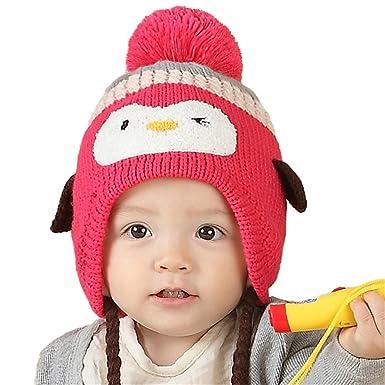 Chapeau Casquette Bonnet Enfant Filles Garçons Hivernal Chaud Tricoté  Pingouin Rouge B 66ad4155951