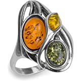 Multicolor Amber Sterling Silver Marquise Ring
