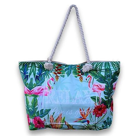Bolso+monedero de playa gran capacidad, diseño flamencos, con asas de cuerda marinera