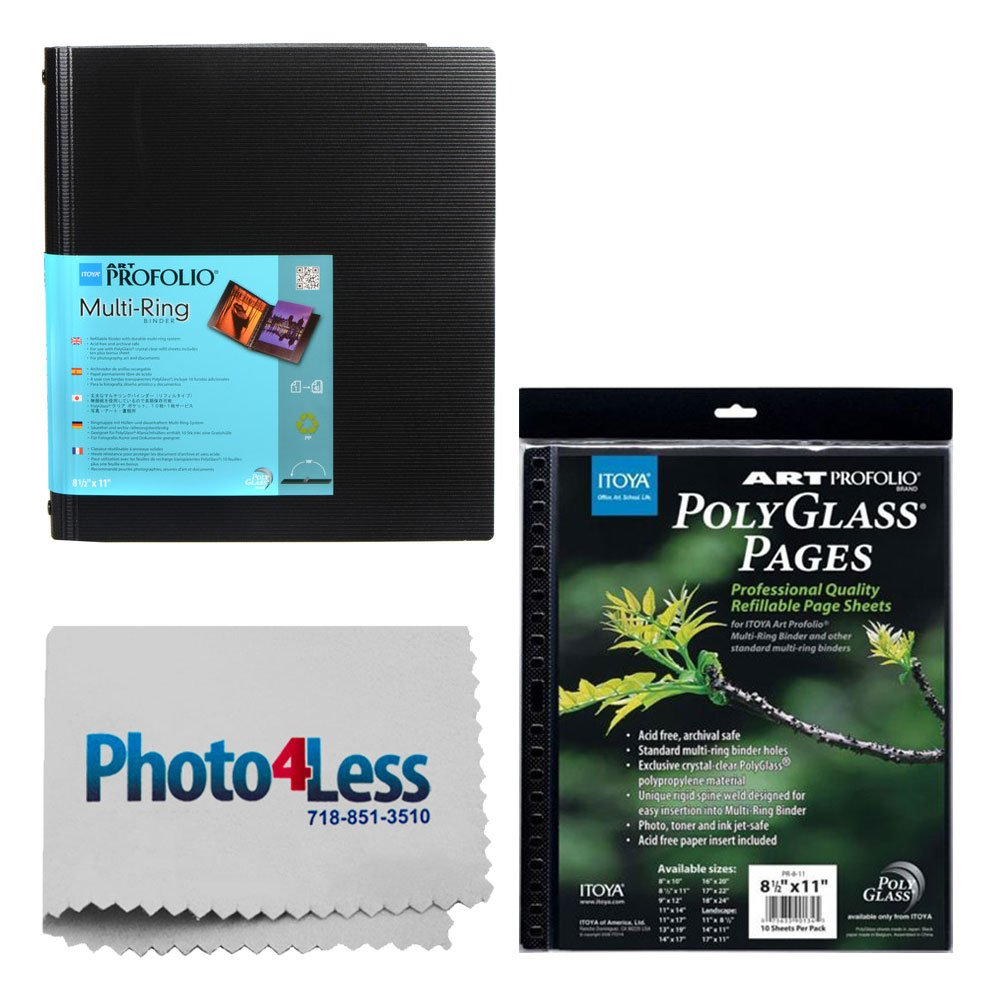 Itoya Art Portfolio Standard Binder Multi Ring Album 8.5'' x 11'' RB811 + Itoya Art Portfolio Polyglass Refill Pages (Set of 10) 8.5'' x 11'' PR811 + Photo4Less Cleaning Cloth + Deluxe Presentation Bundle
