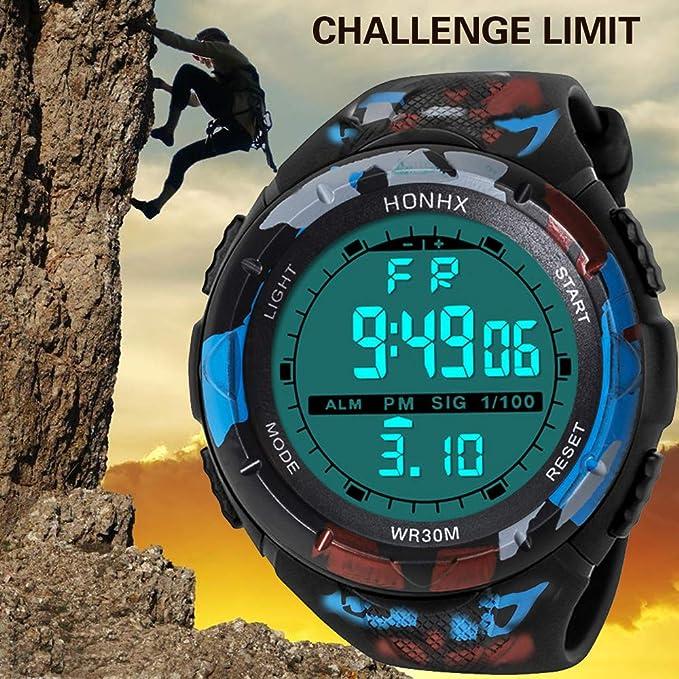 Bestow Reloj Impermeable de Moda para Hombre LCD HONHX Reloj Digital Reloj de Pulsera Deportivo para cronšMetro(AzulC): Amazon.es: Ropa y accesorios