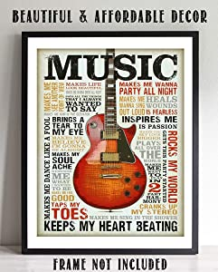 """""""Love of Music- Guitar"""" Quotes Wall Art- 8 x 10 Funny Wall Print- Ready To Frame- Typography Print of Fun Music Sayings. Home Decor- Bar- Man Cave Decor. Perfect Gift for All Music Fans."""